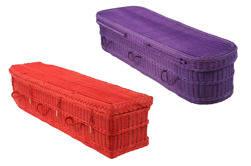 Traditional and Curved Coloured Woven Coffins