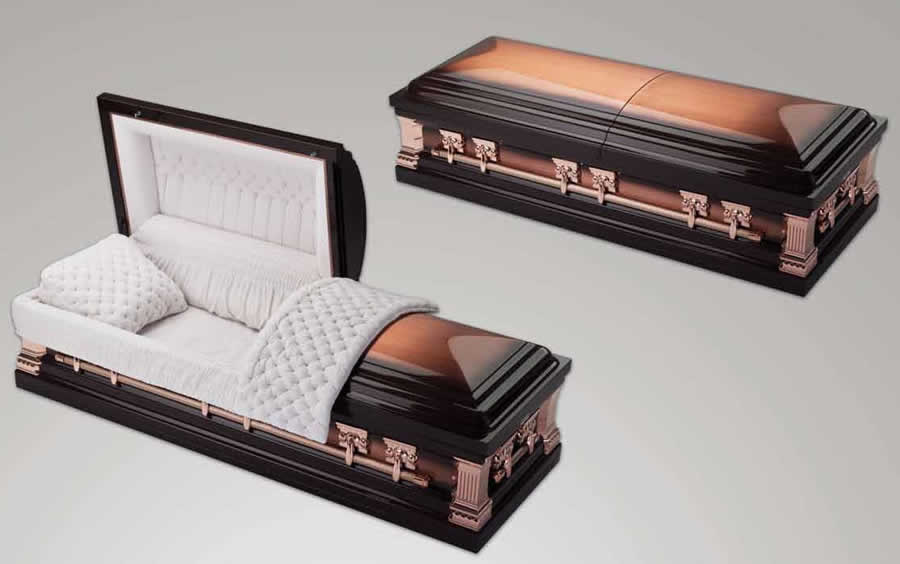 Lincoln. 32oz solid copper casket. Brushed copper and deep bronze finish.