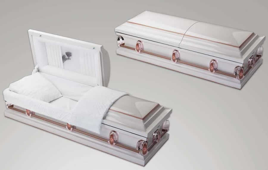 Pearl Rose. 18 gauge steel casket. White enamel finish, with copper shading.